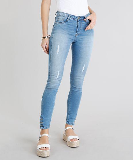 Calca-Jeans-Feminina-Sawary-Cigarrete-Push-Up-com-Puidos-Azul-Claro-9240763-Azul_Claro_1