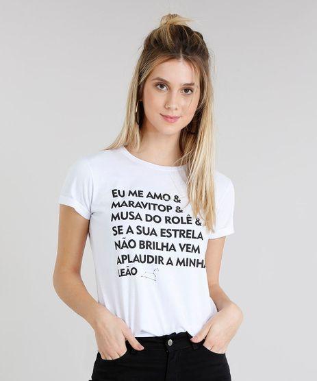 ed9ddce3c6 Blusa-Feminina-Signos-Leao-Manga-Curta-Decote-Redondo-