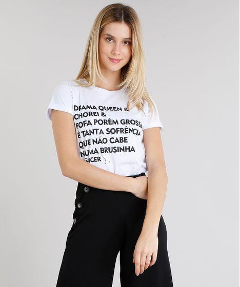 eb0d5e2871 Blusa Feminina Signos Câncer Manga Curta Decote Redondo Branca - cea