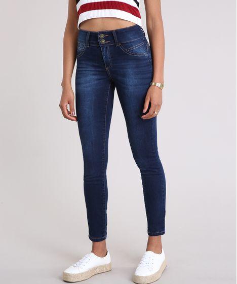 29d593163 Calça Jeans Feminina Super Skinny Pull Up Azul Escuro - cea