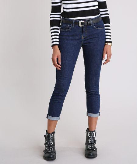 550dcc2b2 Calça Jeans Feminina Cropped Cintura Alta com Cinto Western Azul Escuro -  cea