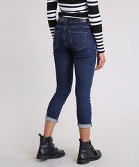 22f58fc4b Calça Jeans Feminina Cropped Cintura Alta com Cinto Western Azul ...