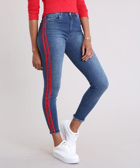 Calca-Jeans-Feminina-Super-Skinny-com-Faixa-Lateral-Azul-Escuro-9201970-Azul_Escuro_1
