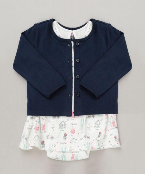 Conjunto-Infantil-de-Body-Vestido-Estampado-Manga-Curta-Off-White---Cardigan-em-Algodao---Sustentavel-Azul-Marinho-9117933-Azul_Marinho_1