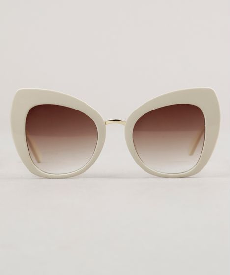 798cf174b Óculos de Sol Quadrado Feminino Mindset Bege Claro - cea