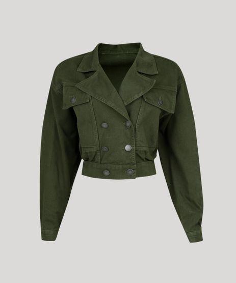 Jaqueta-de-Sarja-Feminina-Oversized-Cropped-Transpassada-com-Bolsos-Verde-9314908-Verde_2