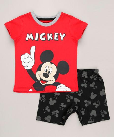 Pijama-Infantil-Mickey-Manga-Curta-Gola-Careca-em-Algodao---Sustentavel-Vermelho-9224178-Vermelho_1