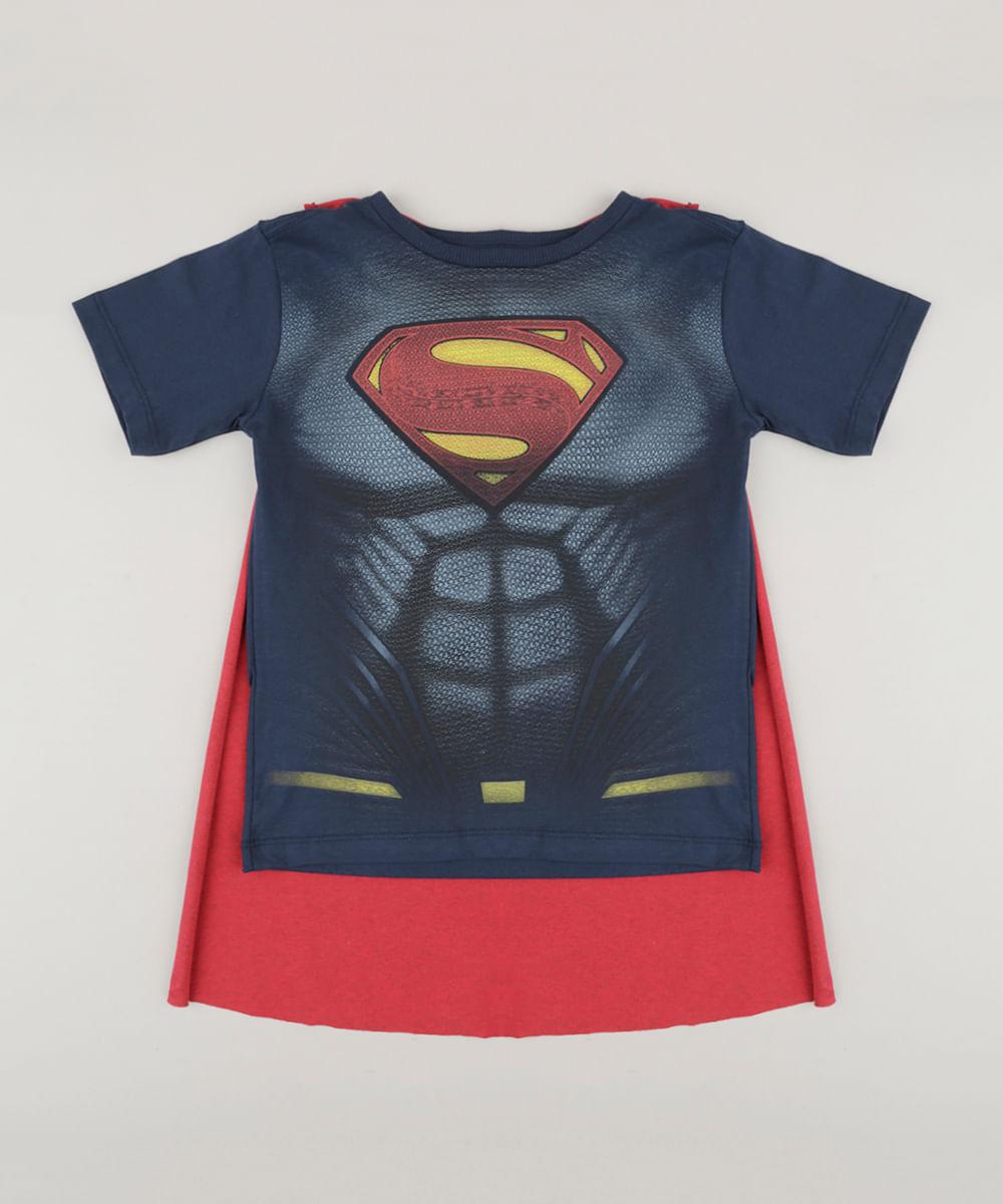 817d1ab51 Camiseta Infantil Super Homem com Capa Removível Manga Curta Gola ...