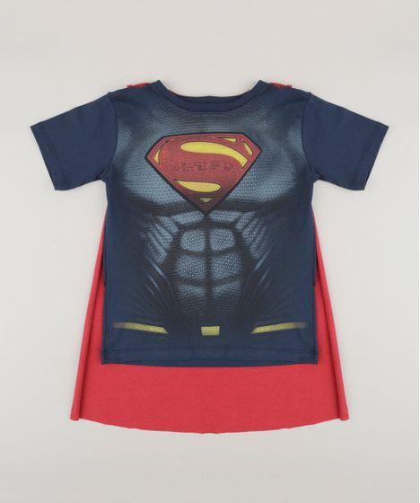 3b5452ea0f Camiseta Infantil Super Homem com Capa Removível Manga Curta Gola ...