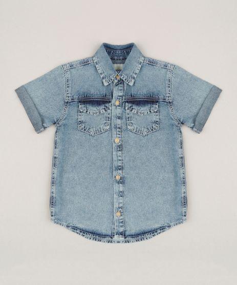 Camisa-Jeans-Infantil-com-Bolsos-Manga-Curta-Azul-Medio-9235766-Azul_Medio_1