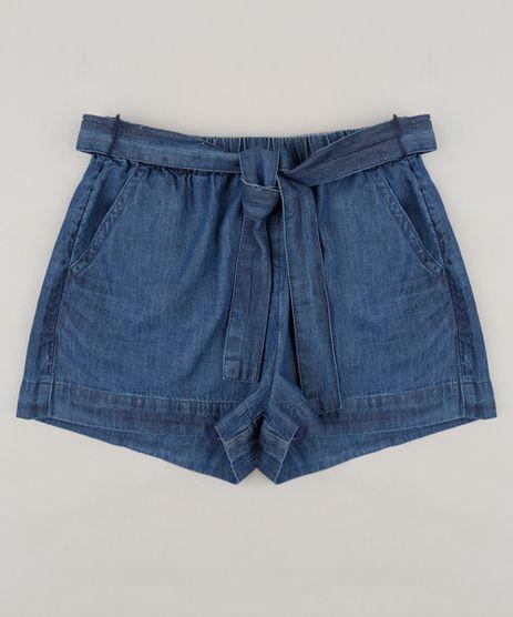 Short-Jeans-Infantil-com-Bolsos-e-Faixa-em-Algodao---Sustentavel-Azul-Escuro-9182809-Azul_Escuro_1