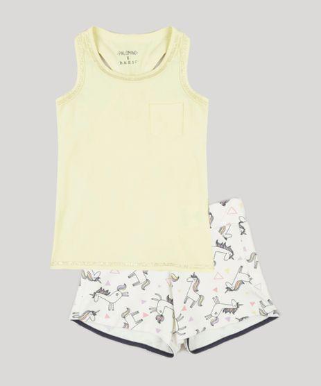 Conjunto-Infantil-de-Regata-com-Bolso-Amarela---Short-Estampado-de-Unicornio-com-Laco-em-Algodao---Sustentavel-Off-White-9284261-Off_White_1