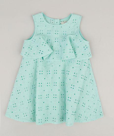 Vestido-Infantil-em-Laise-com-Babado-Sem-Manga-Decote-Redondo-Verde-Claro-9174586-Verde_Claro_1