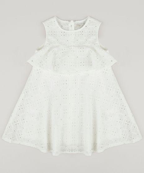 Vestido-Infantil-em-Laise-com-Babado-Sem-Manga-Decote-Redondo-Off-White-9174585-Off_White_1