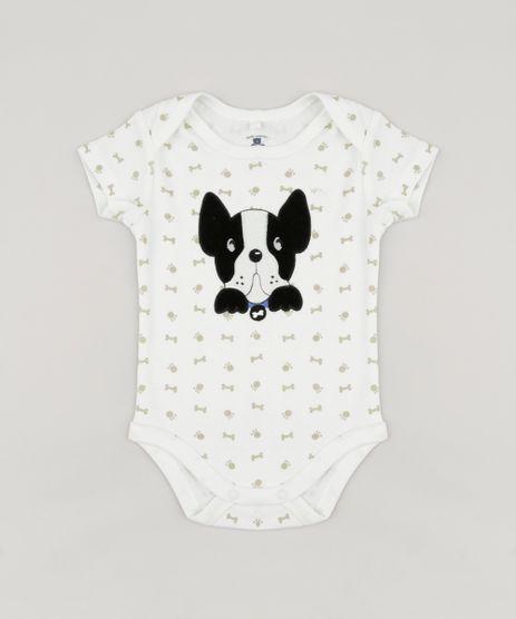 Body-Infantil-Cachorro-Estampado-de-Patinhas-Manga-Curta-Gola-Careca-em-Algodao---Sustentavel-Off-White-8941266-Off_White_1