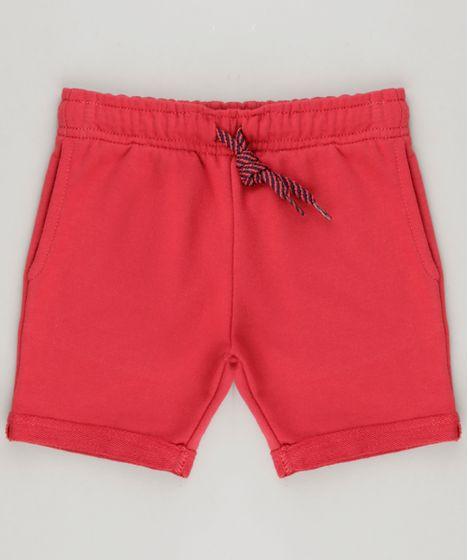 547597bb68 Bermuda-Infantil-em-Moletom-com-Bolsos-Vermelha-9262327- ...
