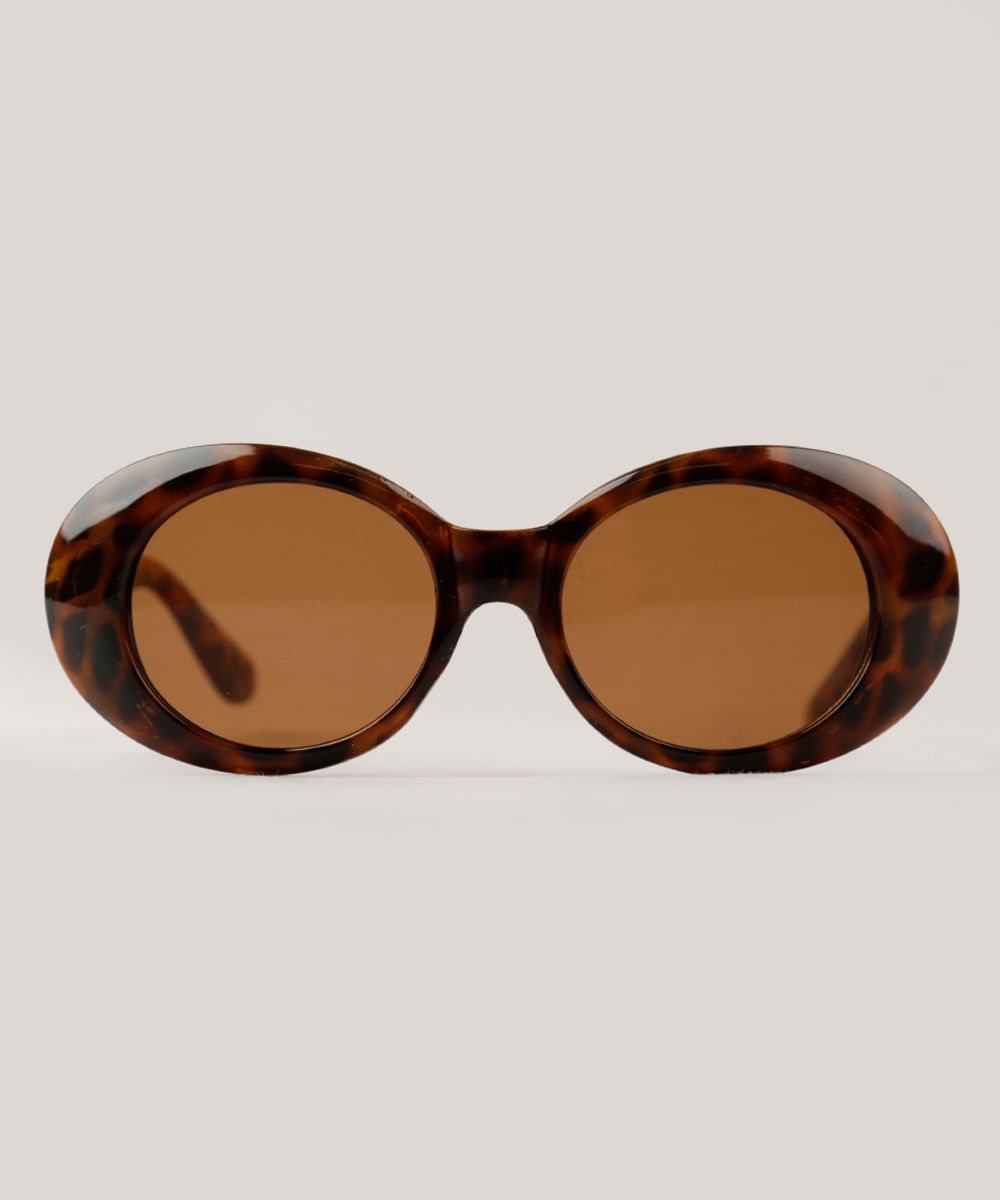 446b55c1d4c93 Óculos de Sol Redondo Feminino Mindset Oneself Tartaruga - Único