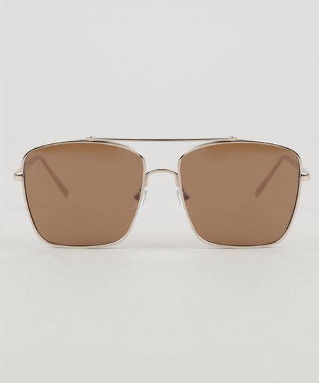 ae46503334c83 Óculos de Sol Quadrado Unissex Oneself Dourado - ceacollections