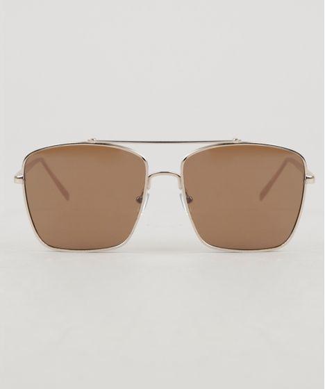 2a6d63854 Óculos de Sol Quadrado Unissex Oneself Dourado - cea
