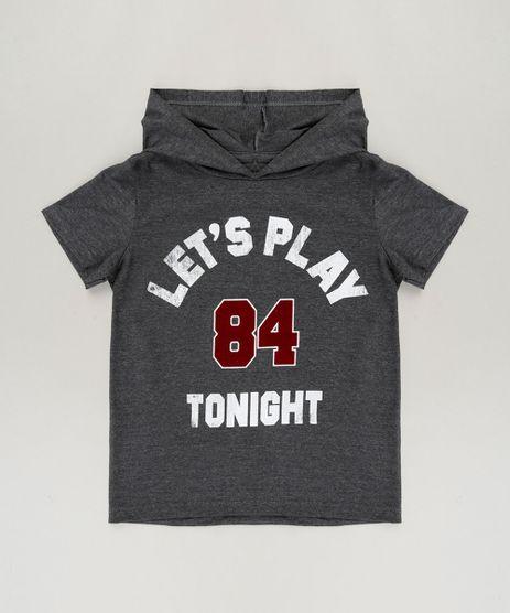 Camiseta-Infantil--Let-s-Play-Tonight--com-Capuz-Manga-Curta-Cinza-Mescla-Escuro-9240108-Cinza_Mescla_Escuro_1