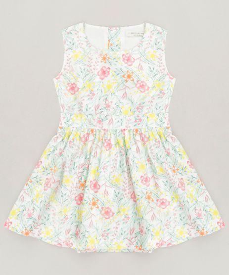 Vestido-Infantil-Estampado-Floral-com-Vazado-Sem-Manga-Off-White-9158428-Off_White_1
