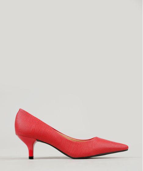82957c8bb6 Scarpin Feminino Vizzano em Verniz Texturizado Bico Fino Vermelho - cea