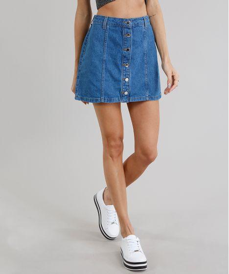 ff70b6e6b Saia Jeans Feminina Cintura Alta com Botões Azul Médio - cea