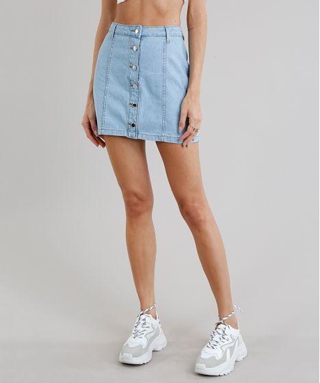 c384e6bd3 Saia Jeans Feminina Cintura Alta com Botões Azul Claro - cea