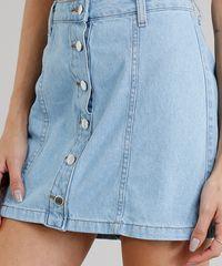 f0f42f0aa Saia Jeans Feminina Cintura Alta com Botões Azul Claro - ceacollections