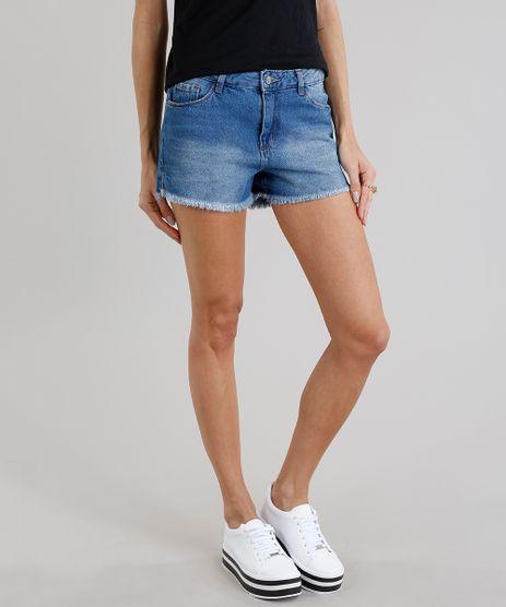 Short-Jeans-Feminino-Boy-com-Barra-Desfiada-Azul-Medio-9281300-Azul_Medio_1