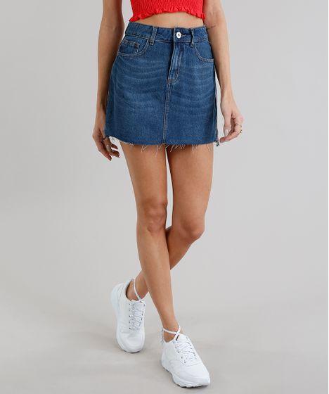 63d518f67b8 Saia Jeans Feminina com Faixa Lateral Barra Desfiada Azul Escuro - cea