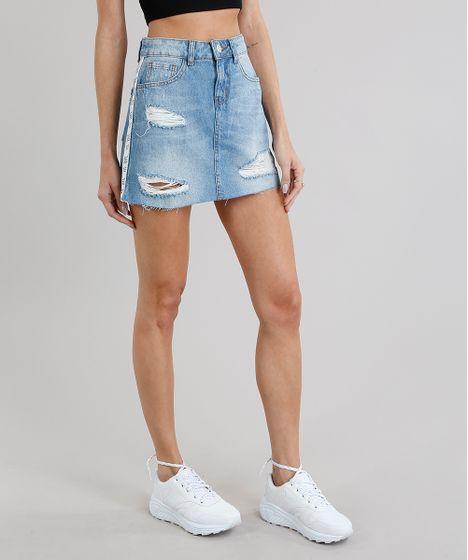 9208b30f1a Saia Jeans Feminina Destroyed com Faixa Lateral