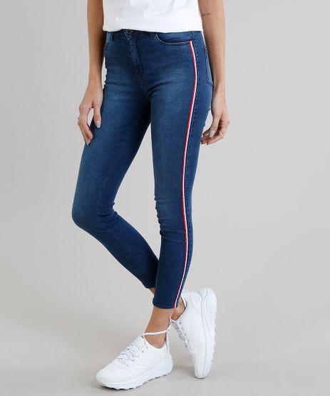 Calca-Jeans-Feminina-Super-Skinny-com-Faixa-Lateral-Azul-Escuro-9269765-Azul_Escuro_1