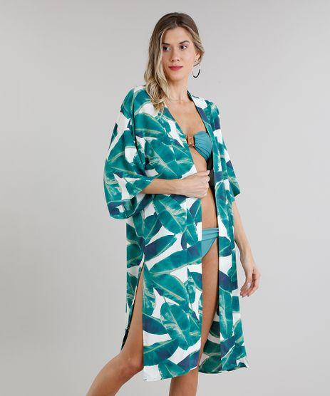 Kimono-Saida-de-Praia-Estampado-de-Folhas-com-Fenda-Manga-Curta--Branco-9220620-Branco_1