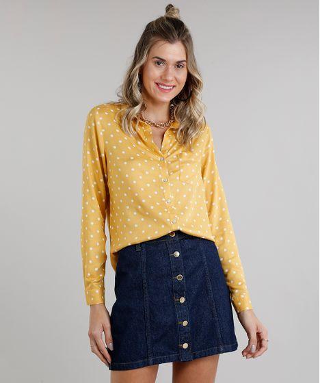 87a6a6aab Camisa Feminina Estampada de Poás com Bolso Manga Longa Mostarda - cea