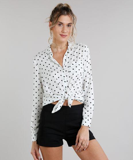 Camisa-Feminina-Estampada-de-Poas-com-Bolso-Manga-Longa-Off-White-9196004-Off_White_1