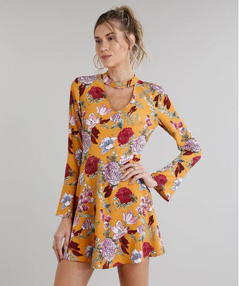 7162815e4 Vestido Feminino Curto Choker Estampado Floral Manga Longa Mostarda ...