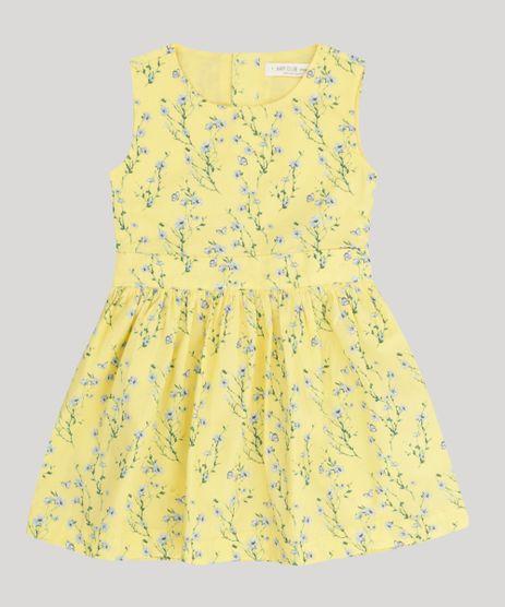 Vestido-Infantil-Estampado-Floral-com-Vazado-Sem-Manga-Amarelo-9158427-Amarelo_1
