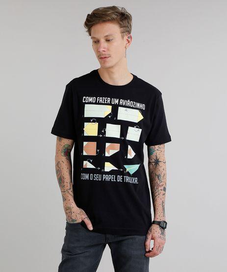Camiseta-Masculina--Como-Fazer-um-Aviaozinho--Manga-Curta-Gola-Careca-Preta-9308173-Preto_1
