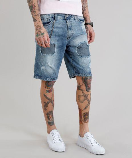 Bermuda-Jeans-Masculina-Reta-Destroyed-com-Corrente-Azul-Medio-9223992-Azul_Medio_1