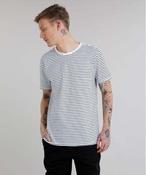 073aa76aa Camiseta Masculina Básica Listrada Manga Curta Gola Careca Branca - cea