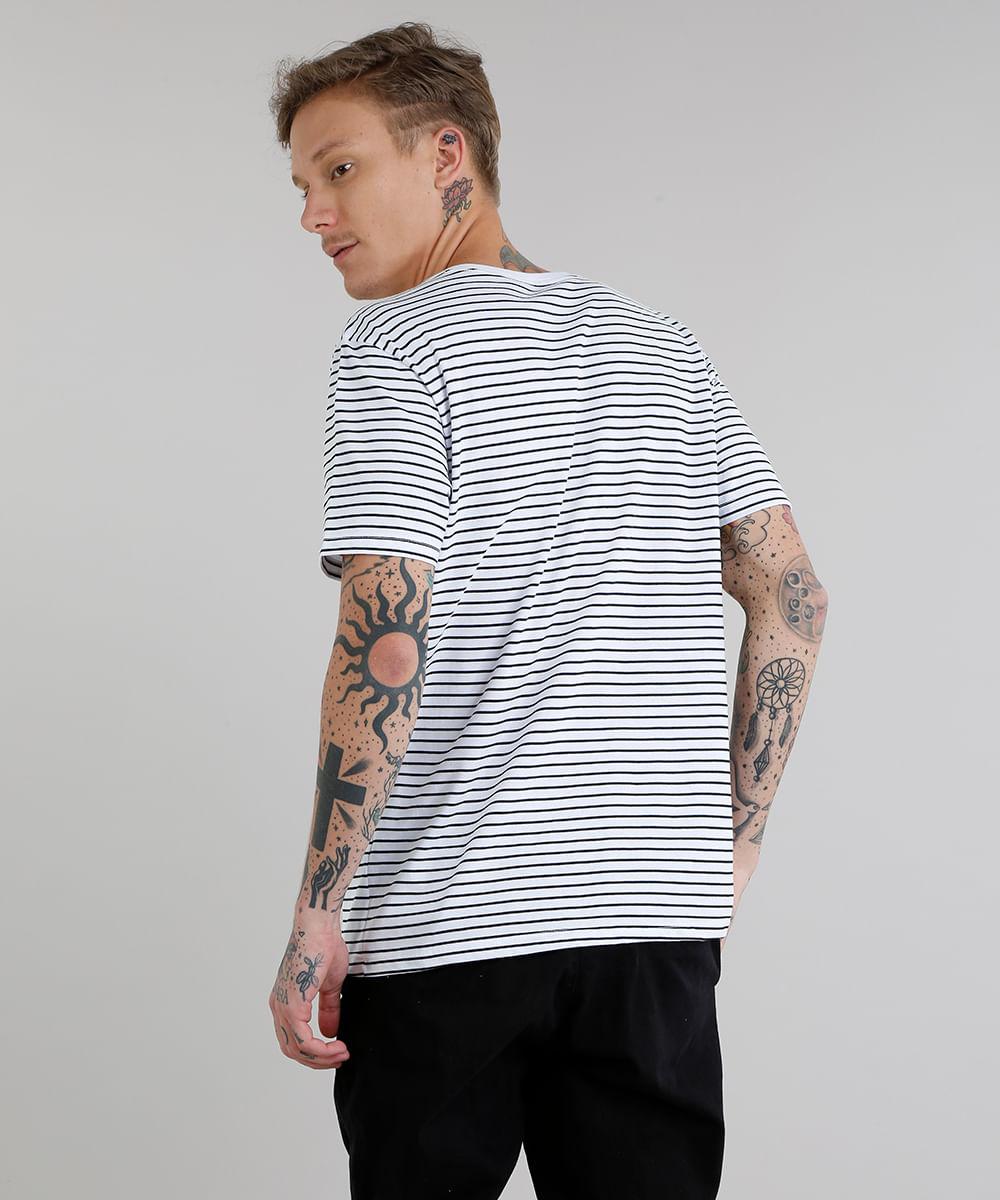 e40b1a3e375f5 Camiseta Masculina Básica Listrada Manga Curta Gola Careca Preta - cea