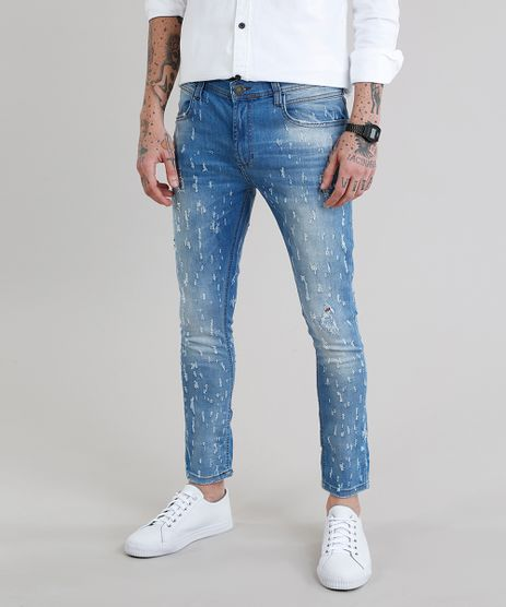 Calca-Jeans-Masculina-Super-Skinny-Cropped-Destroyed-Azul-Claro-9137829-Azul_Claro_1