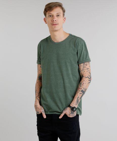 Camiseta-Masculina-Basica-Listrada-Manga-Curta-Gola-Careca-Verde-Militar-8551673-Verde_Militar_1