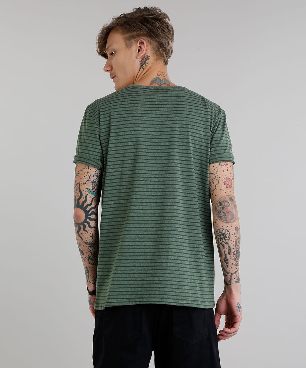 dd98257de Camiseta Masculina Básica Listrada Manga Curta Gola Careca Verde Militar -  cea