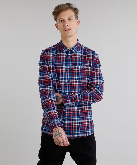 Camisa-Masculina-em-Flanela-Estampada-Xadrez-com-Bolso-Manga-Longa-Azul-8886488-Azul_1