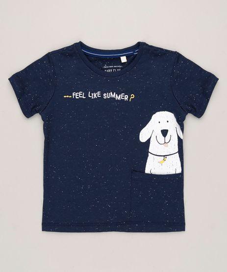 Camiseta-Infantil-Cachorro-com-Bolso-e-Bordado-Manga-Curta-Gola-Careca-Azul-Marinho-9227793-Azul_Marinho_1