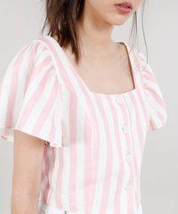 f70df7f0e Blusa Feminina Mindset Cropped em Linho Listrada Manga Curta Rosa ...