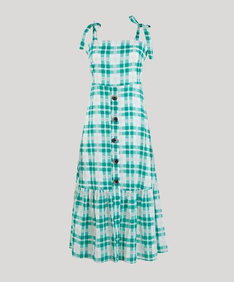 Vestido-Midi-Xadrez-com-Alcas-Verde-9258512-Verde_2