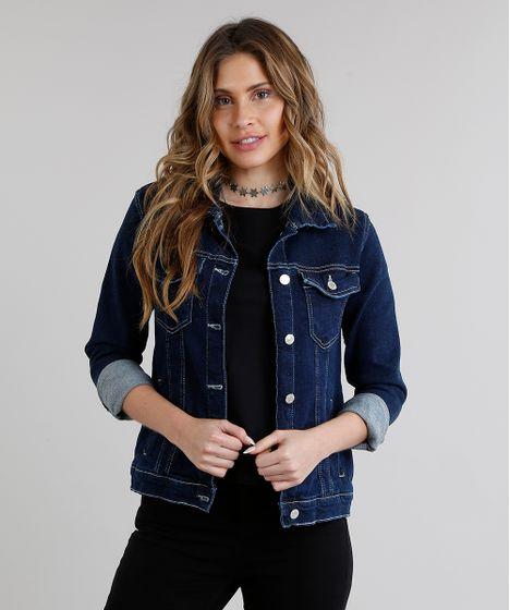 501ecd6e26 Jaqueta-Jeans-Feminina-com-Pesponto-Azul-Escuro-9222205- ...